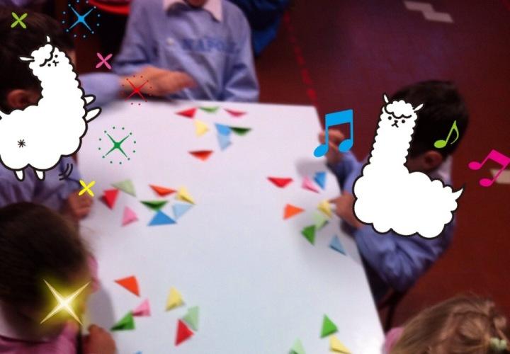 Il laboratorio di Origami in corso...